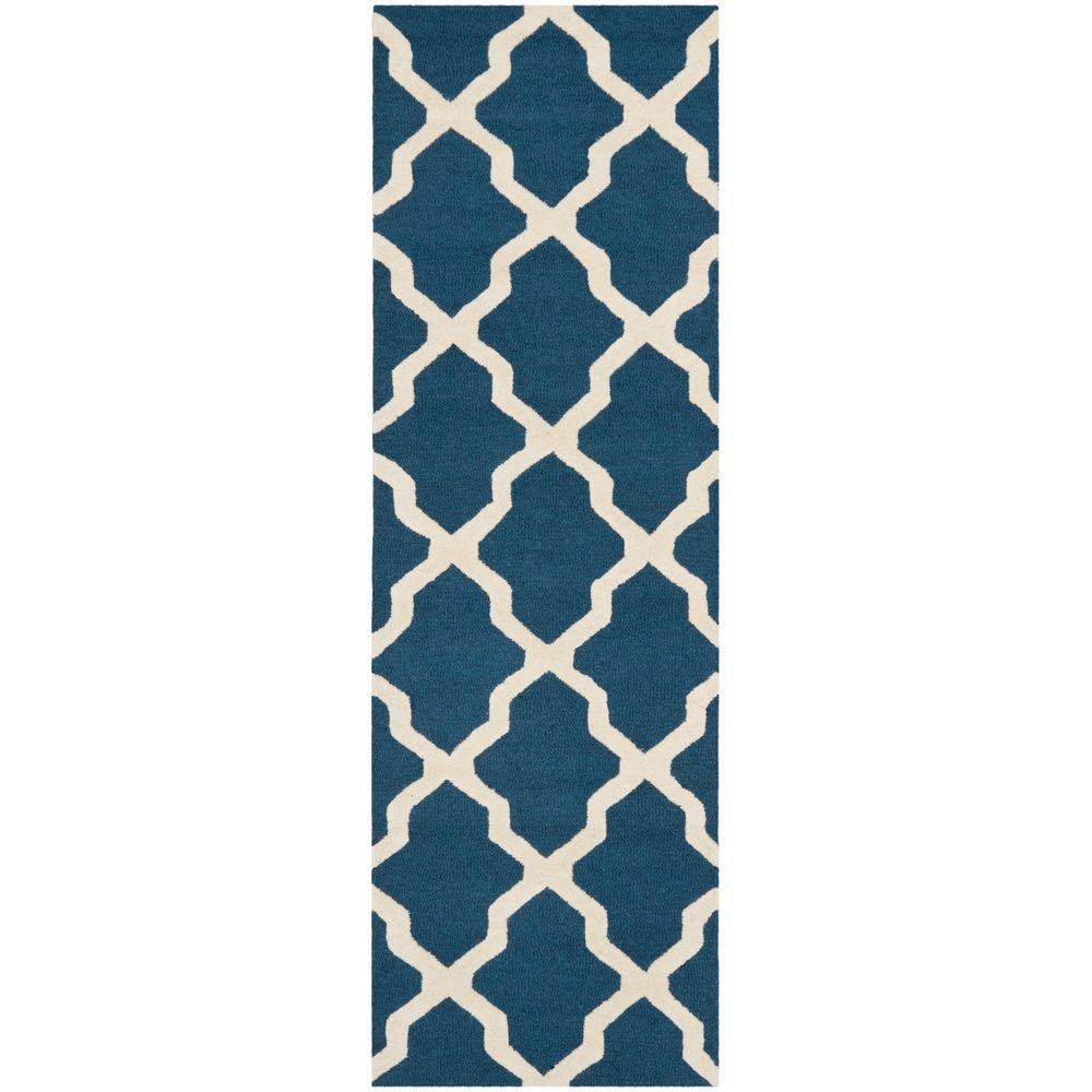 Safavieh Cambridge Navy Blue/Ivory 2 ft. 6 in. x 14 ft. Runner