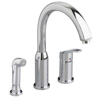 Arch Single-Handle Standard Kitchen Faucet with Side Sprayer with 1.5 gpm in Polished Chrome