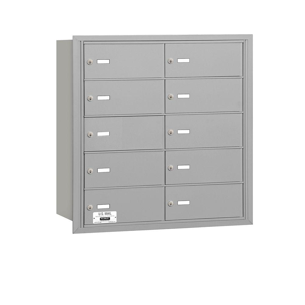 Salsbury Industries Aluminum USPS Access Rear Loading 4B Plus Horizontal Mailbox with 10B Doors