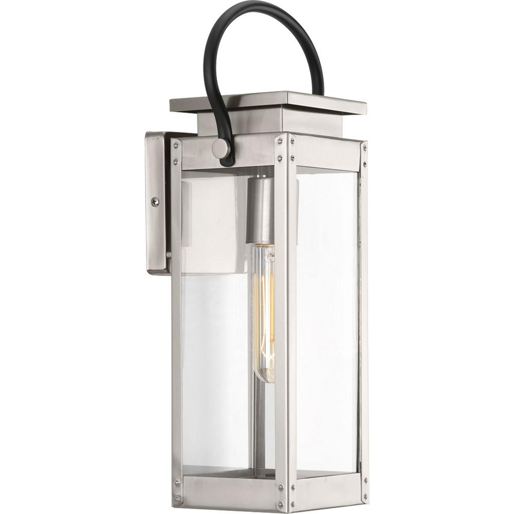Progress Lighting Union Square Collection 1-Light Stainless Steel 15.9 in. Outdoor Wall Lantern Sconce