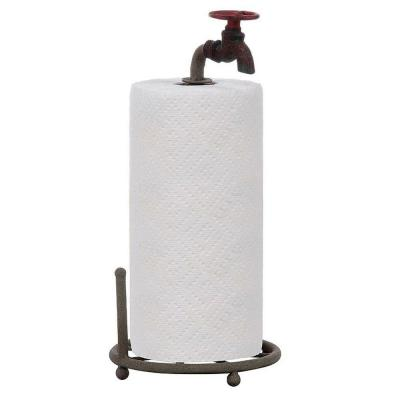 7 in. dia. Red/Green Iron Faucet Paper Towel Holder