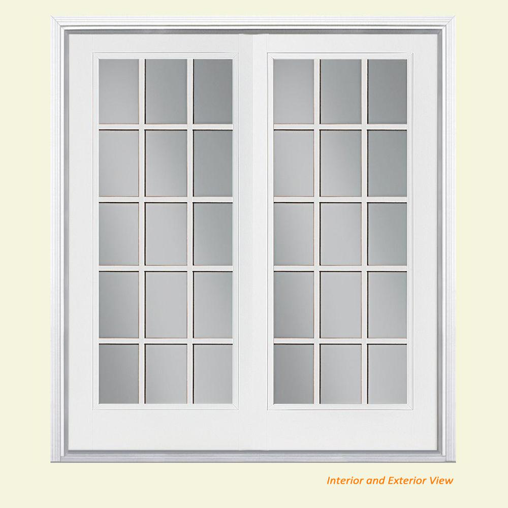 Masonite 72 in. x 80 in. Primed White Steel Prehung Left-Hand Inswing 15-Lite Clear Glass Patio Door Vinyl Frame with Brickmold