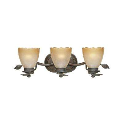 Belle Rose Collection 3-Light Old Bronze Wall Mount Vanity Light