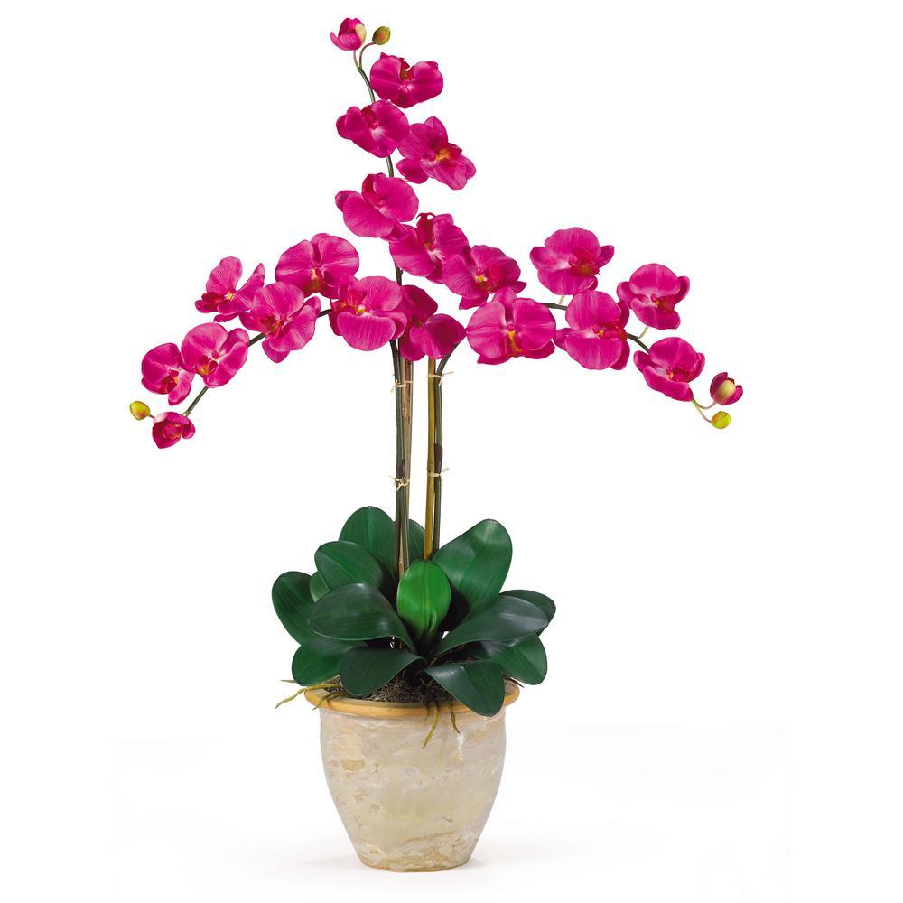 27 in. Triple Phalaenopsis Silk Orchid Flower Arrangement in Beauty