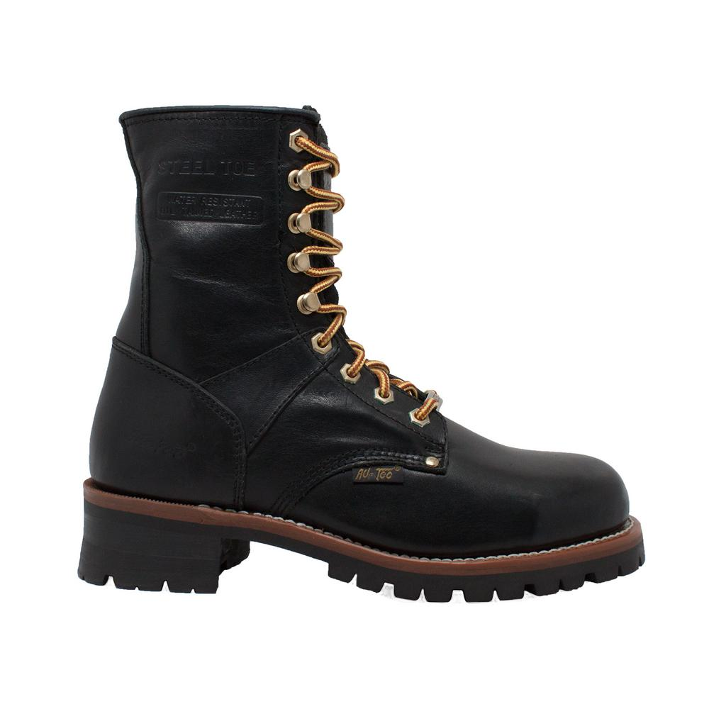 69f67d737f5 Adtec Men's Medium 7.5 Black Crazy Horse Leather Steel Toe Logger Boot