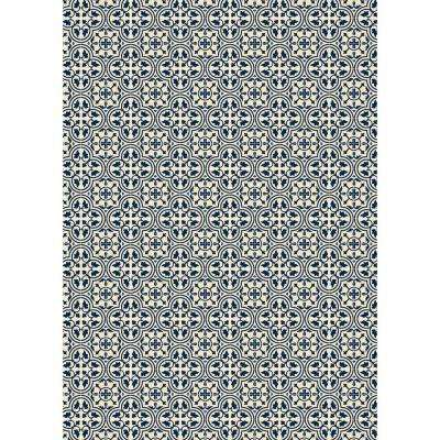Quad European Design  5ft x 7ft Blue & White Indoor/Outdoor vinyl rug.