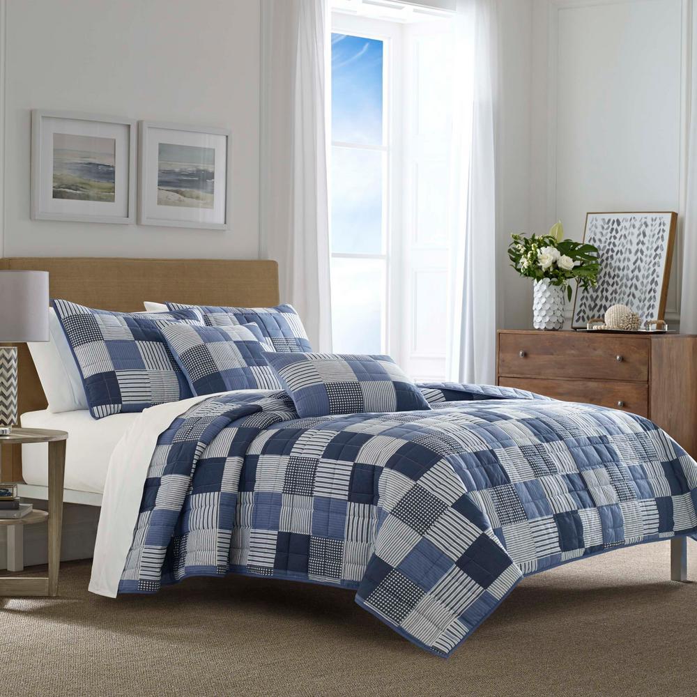 Nautica Holly Grove 2-Piece Blue Twin Cotton Quilt Set ...