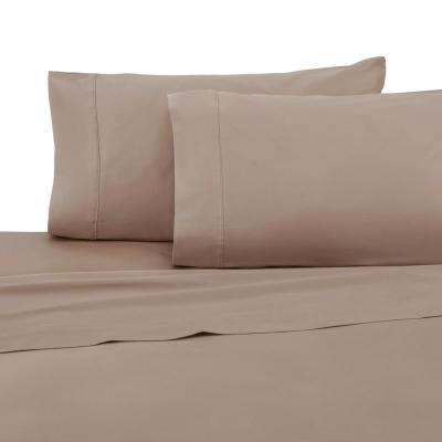 T400 Khaki King Pillowcase Pair