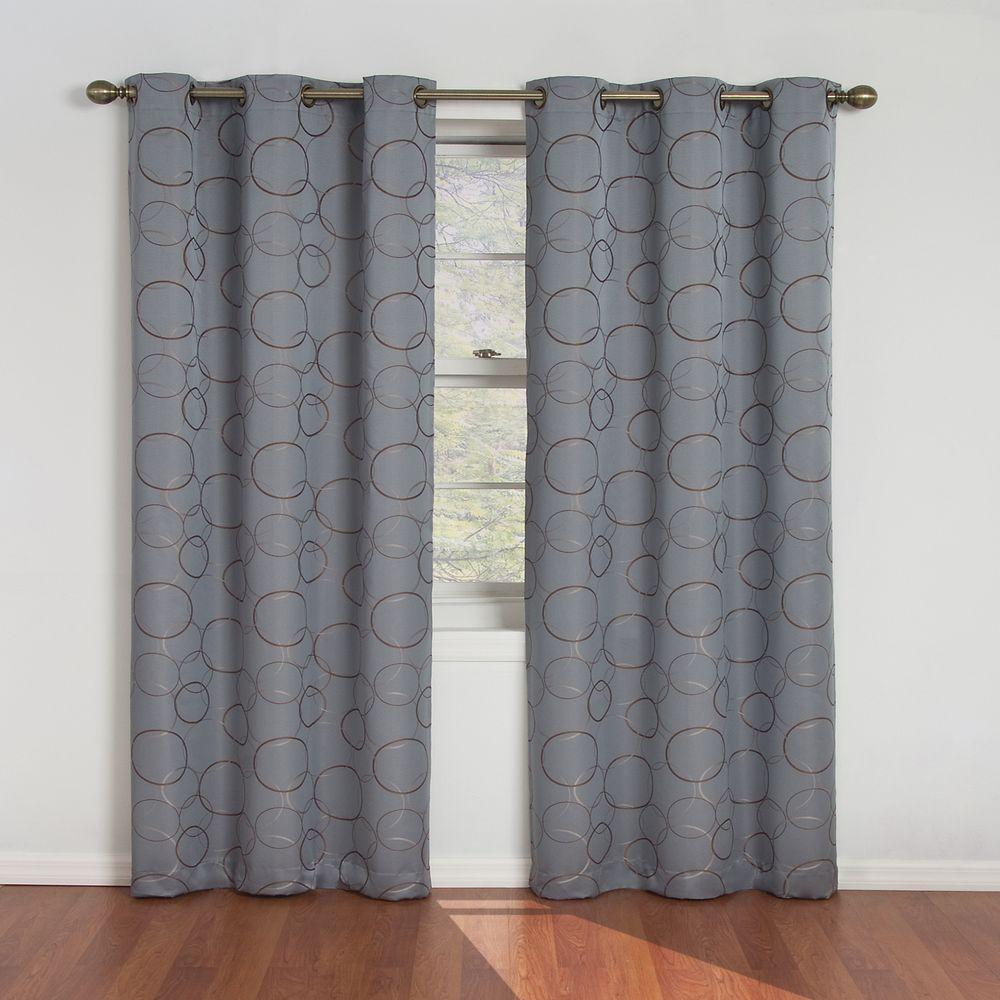 Eclipse Meridian Blackout River Blue Curtain Panel 84 In Length