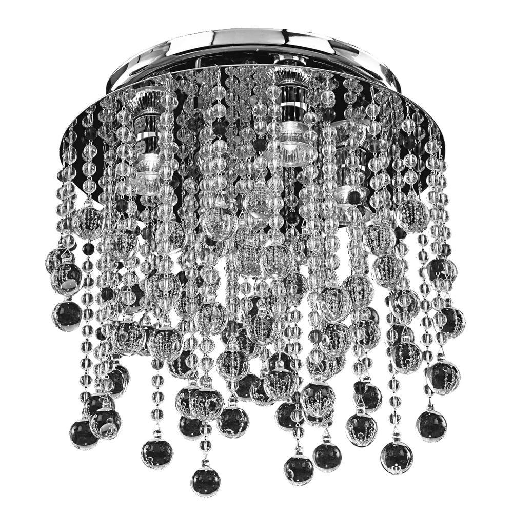 Crystal Rain 4-Light Smooth Crystal and Chrome Flush Mount