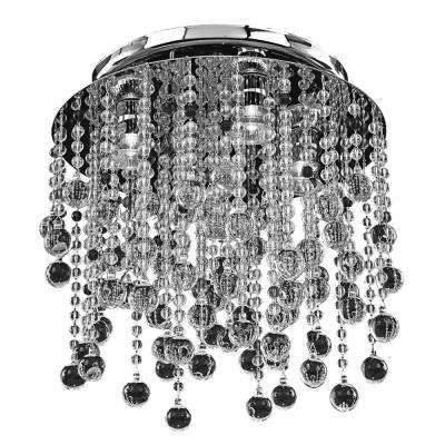 Crystal Rain 4-Light Smooth Crystal and Chrome Flush Mount
