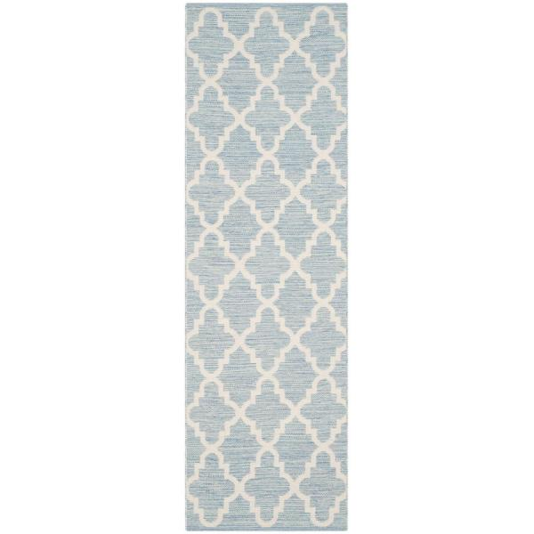 Montauk Light Blue/Ivory 2 ft. x 11 ft. Runner Rug