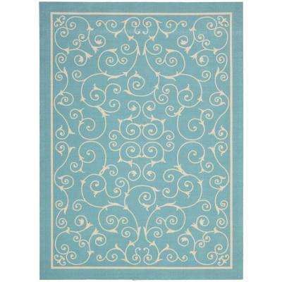 Home and Garden Pavilion Light Blue 10 ft. x 13 ft. Indoor/Outdoor Area Rug