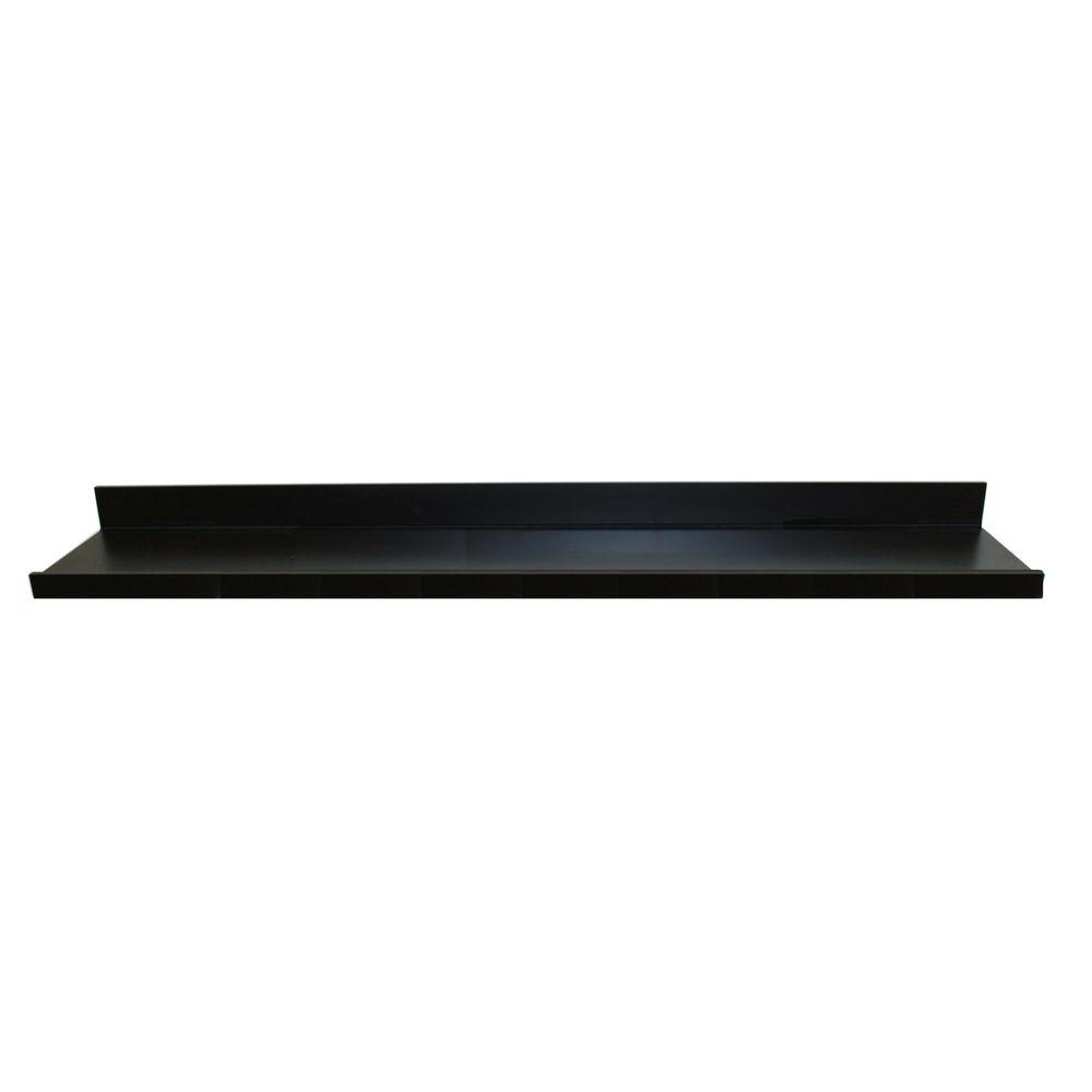 60 in. W x 4.5 in. D x 3.5 in. H Black MDF Large Picture Ledge Floating Wall Shelf