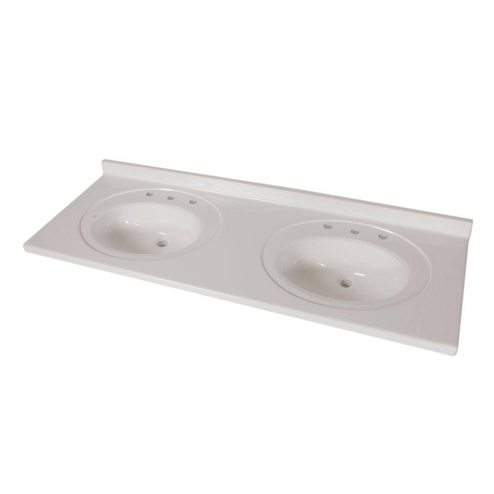 Merveilleux AB Engineered Technology Double Bowl Vanity Top In White