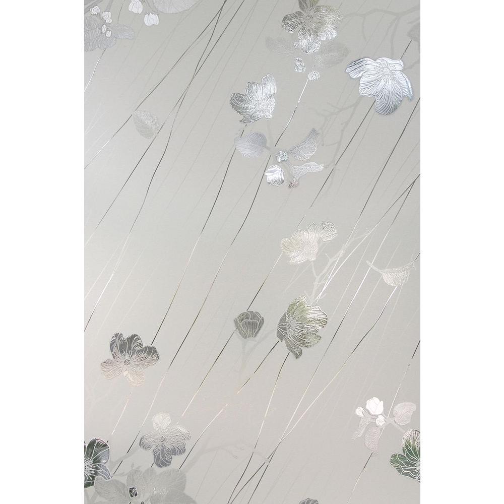24 in. x 36 in. Silver Rose Decorative Window Film