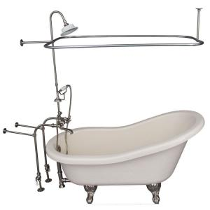 Barclay Products 5 ft. Acrylic Ball and Claw Feet Slipper Tub in Bisque with Brushed Nickel Accessories by Barclay Products