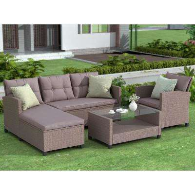 Gray 4-Piece Wicker Patio Conversation Set with Gray Cushions
