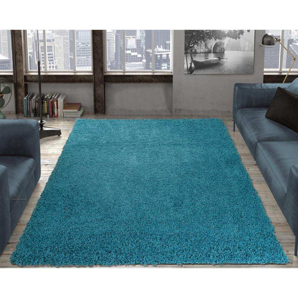 Contemporary Solid Blue 7 ft. 10 in. x 9 ft. 10 in. Shag ...