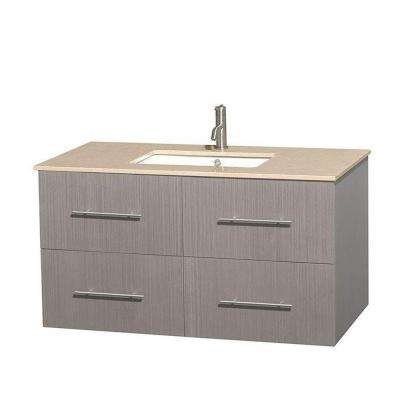 Centra 42 in. Vanity in Gray Oak with Marble Vanity Top in Ivory and Undermount Sink