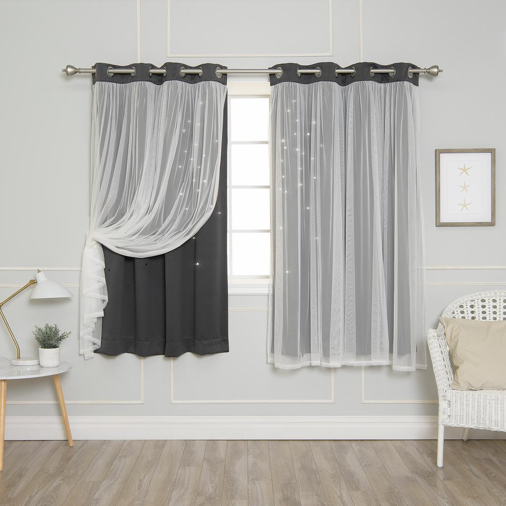 Best Home Fashion 63 in. L Dark Grey Tulle Overlay Star Cut Out Blackout Curtain Panel (2-Pack)