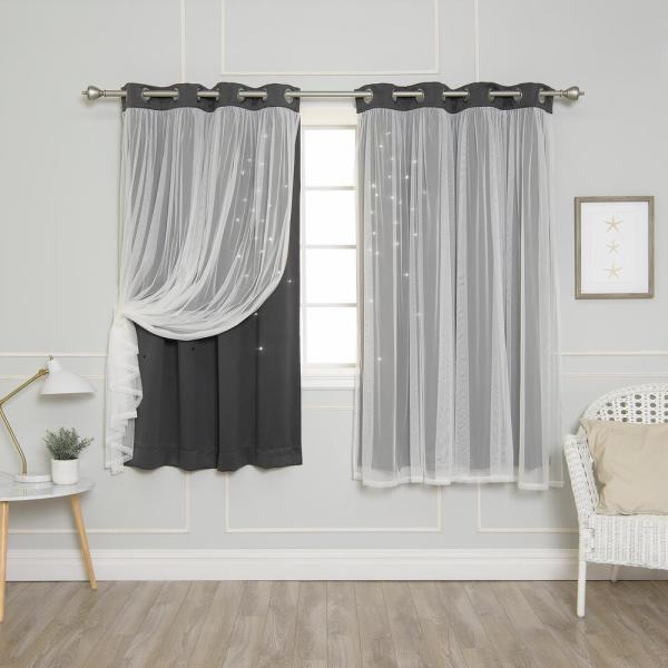 63 in. L Dark Grey Tulle Overlay Star Cut Out Blackout Curtain Panel (2-Pack)