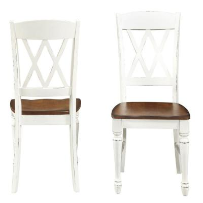 Rubbed White Wood Double X-Back Dining Chair (Set of 2)