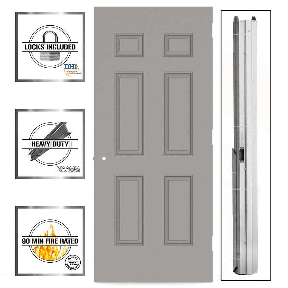 L.I.F Industries 30 in. x 80 in. Gray 6-Panel Steel Commercial Door with Hardware