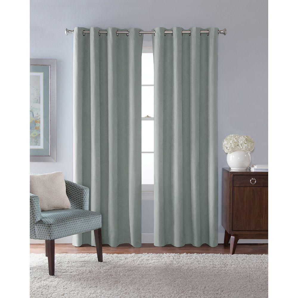 54 in. W x 84 in. L Faux Suede Room Darkening Window Panel in Mist