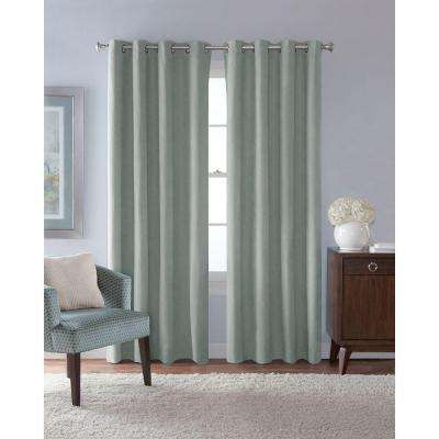 54 in. W x 84 in. L Faux Suede Room Darkening Window Panel in Mist