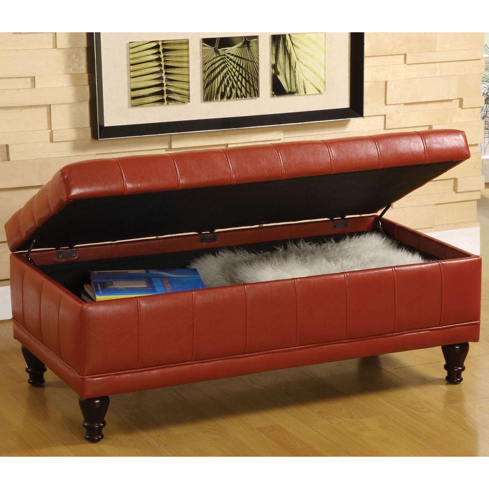 Randel Mahogany Red Leatherette Bench