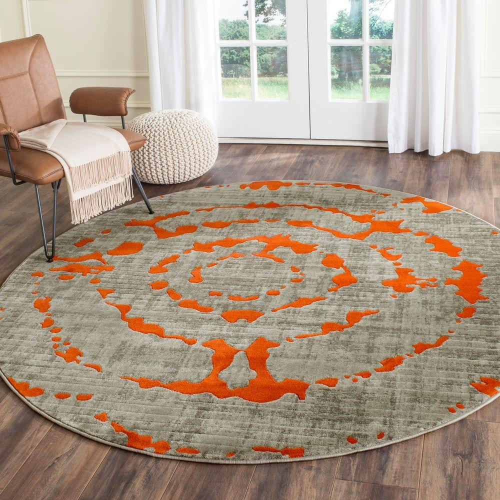 Safavieh Porcello Light Grey Orange 5 Ft X Round Area Rug