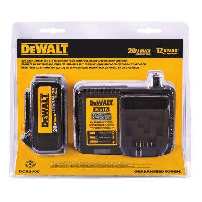 20-Volt MAX Lithium-Ion Premium Battery Pack 3.0Ah with Charger