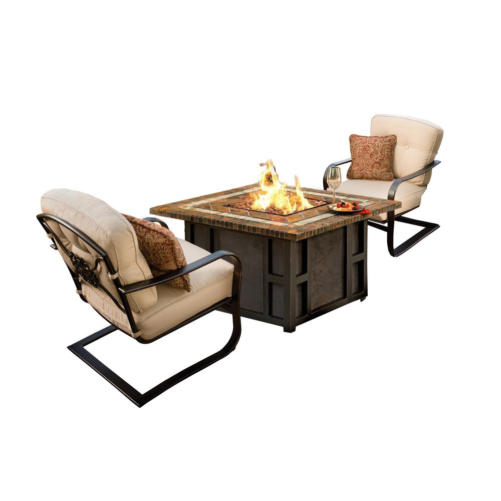 Maris 3 Piece Aluminum Patio Fire Pit Conversation Set With Oatmeal Cushions Hd8217gst 8212sc2 Ab The Home Depot