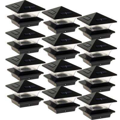 4 in. x 4 in. Solar Powered Integrated LED Black Plastic Post Cap Light for Nominal Wood Posts (12-Pack)