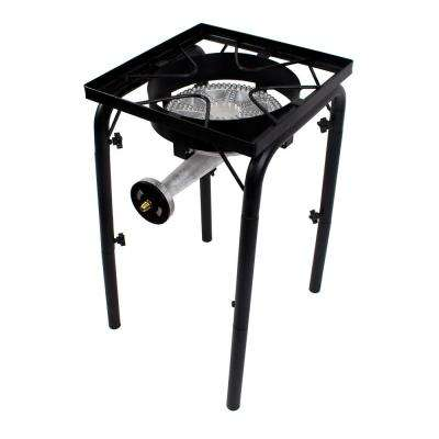 200,000 BTU High Pressure Propane Burner Outdoor Cooker Turkey Fryer with Adjustable Legs and Steel Braided Hose