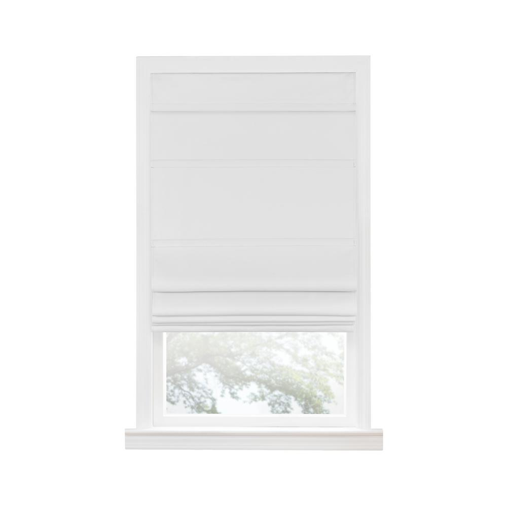Achim White Cordless Blackout Easy Care Polyester Roman Shades 33 in. W x 64 in. L