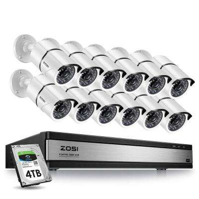 16-Channel 1080p 4TB DVR Security Camera System with 12 Wired Bullet Cameras