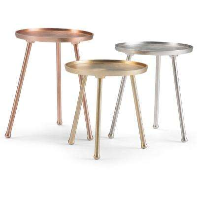 Newman Modern Industrial Round 15 in. Wide Metal 3-Piece Table Set in Brass, Silver, Copper