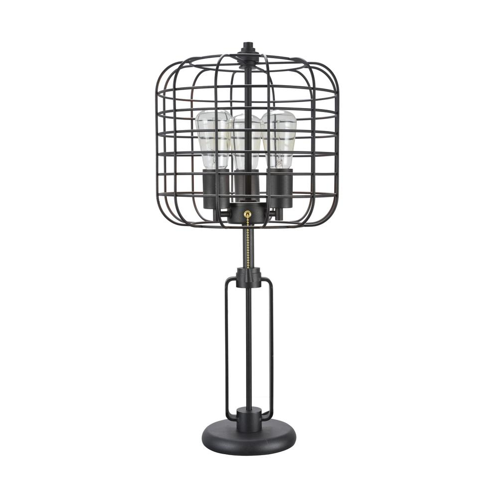 aspen creative corporation 26 in  sand black wire cage metal table lamp-40086