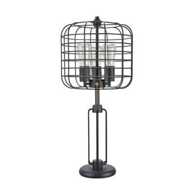 26 in. Sand Black Wire Cage Metal Table Lamp