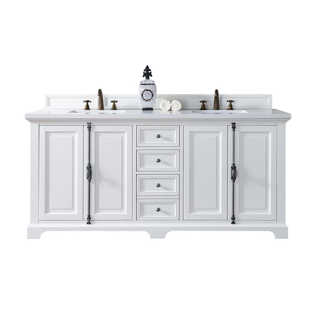 James Martin Signature Vanities Providence 72 inch W Double Vanity in Cottage White with Quartz Vanity Top in White with... by James Martin Signature Vanities