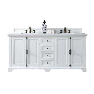 Providence 72 in. W Double Vanity in Cottage White with Quartz Vanity Top in White with White Basin
