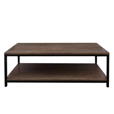 Studio Gray Washed Solid Red Oak Top/Shelf Coffee Table