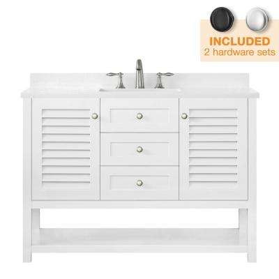 Grace 48 in. W x 22 in. D Bath Vanity in White with Cultured Stone Vanity Top in White with White Basin