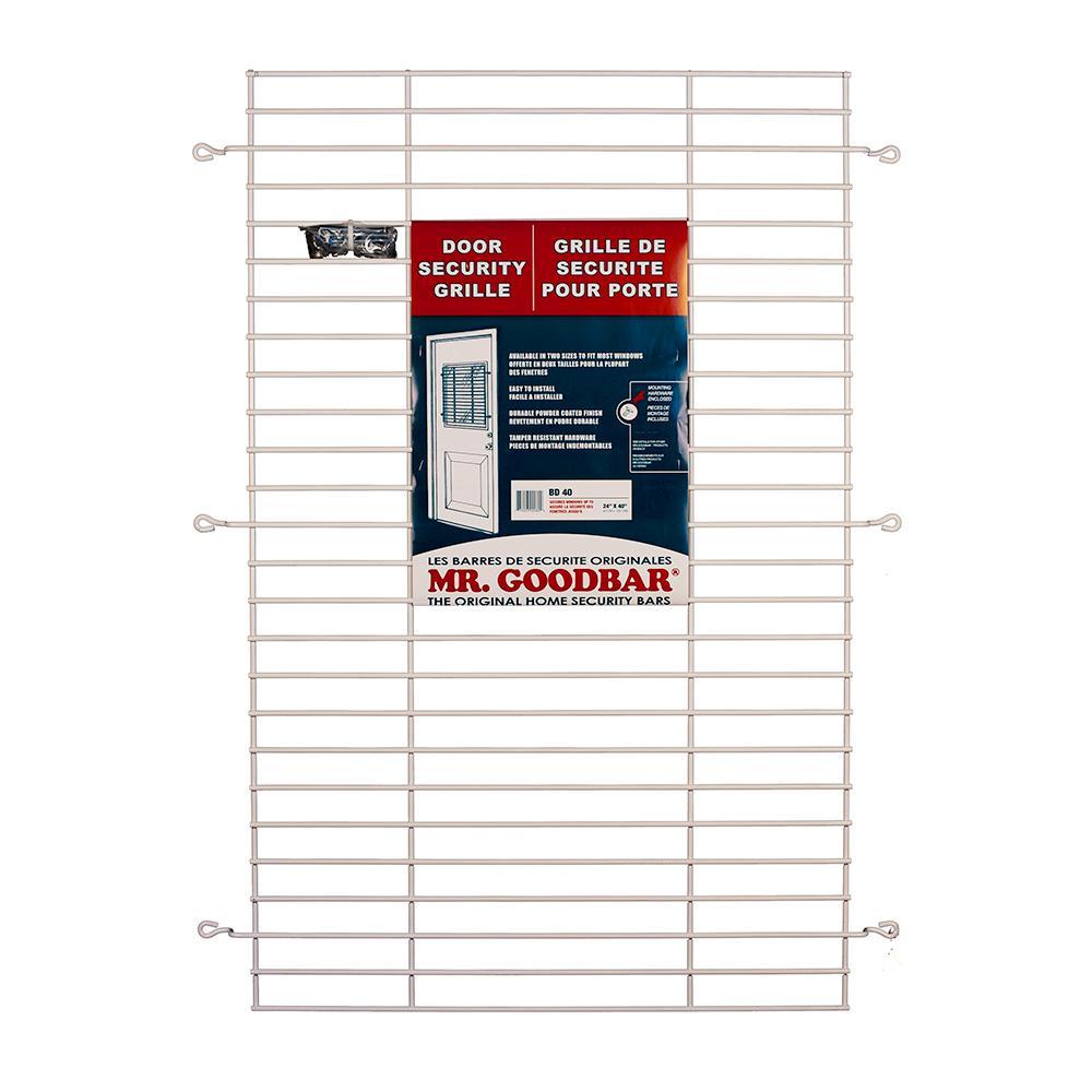 Mr. Goodbar 24 in. x 36 in. White Security Door Grille