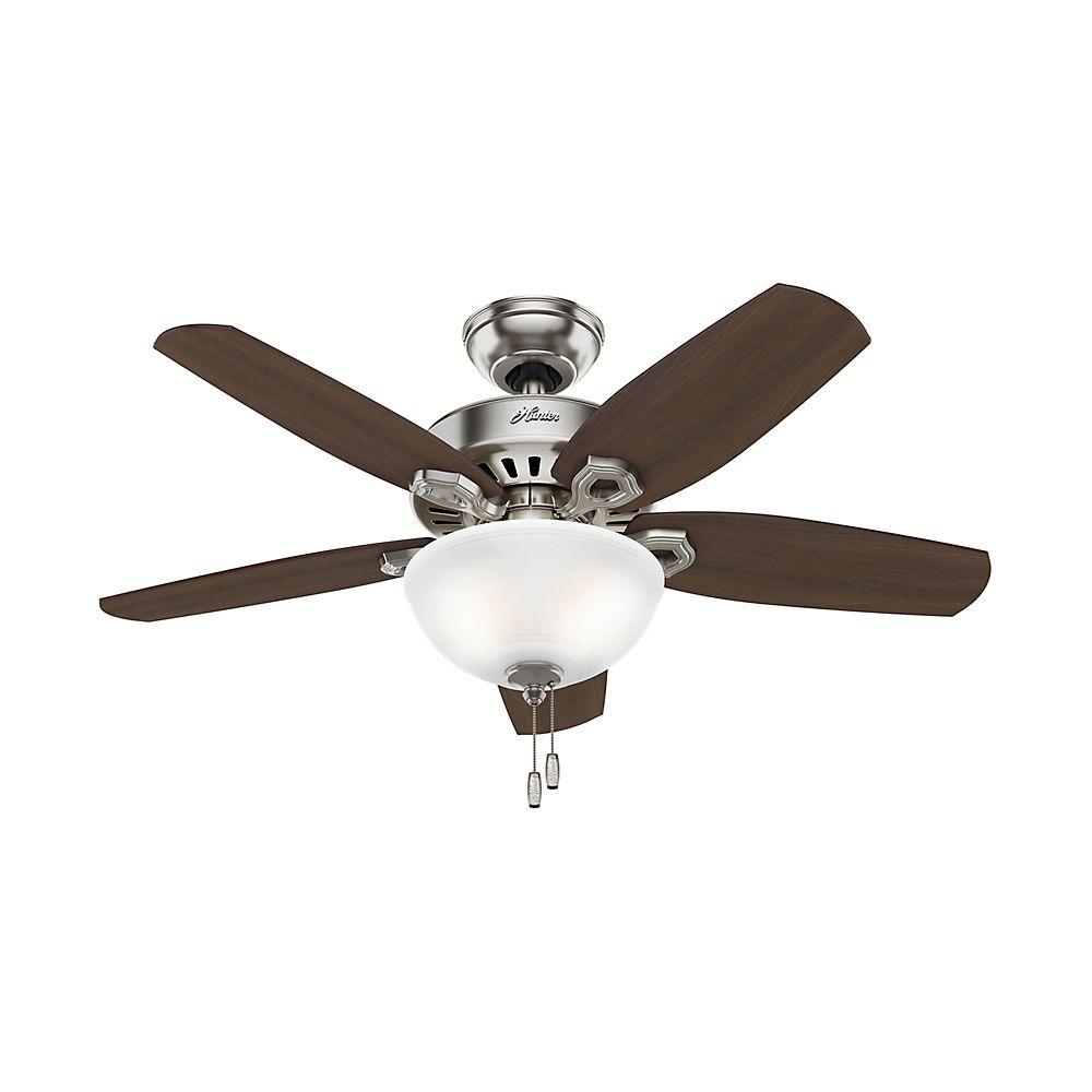 Hunter Builder Small Room 42 In Indoor Brushed Nickel Bowl Ceiling Fan With Light Kit 52219