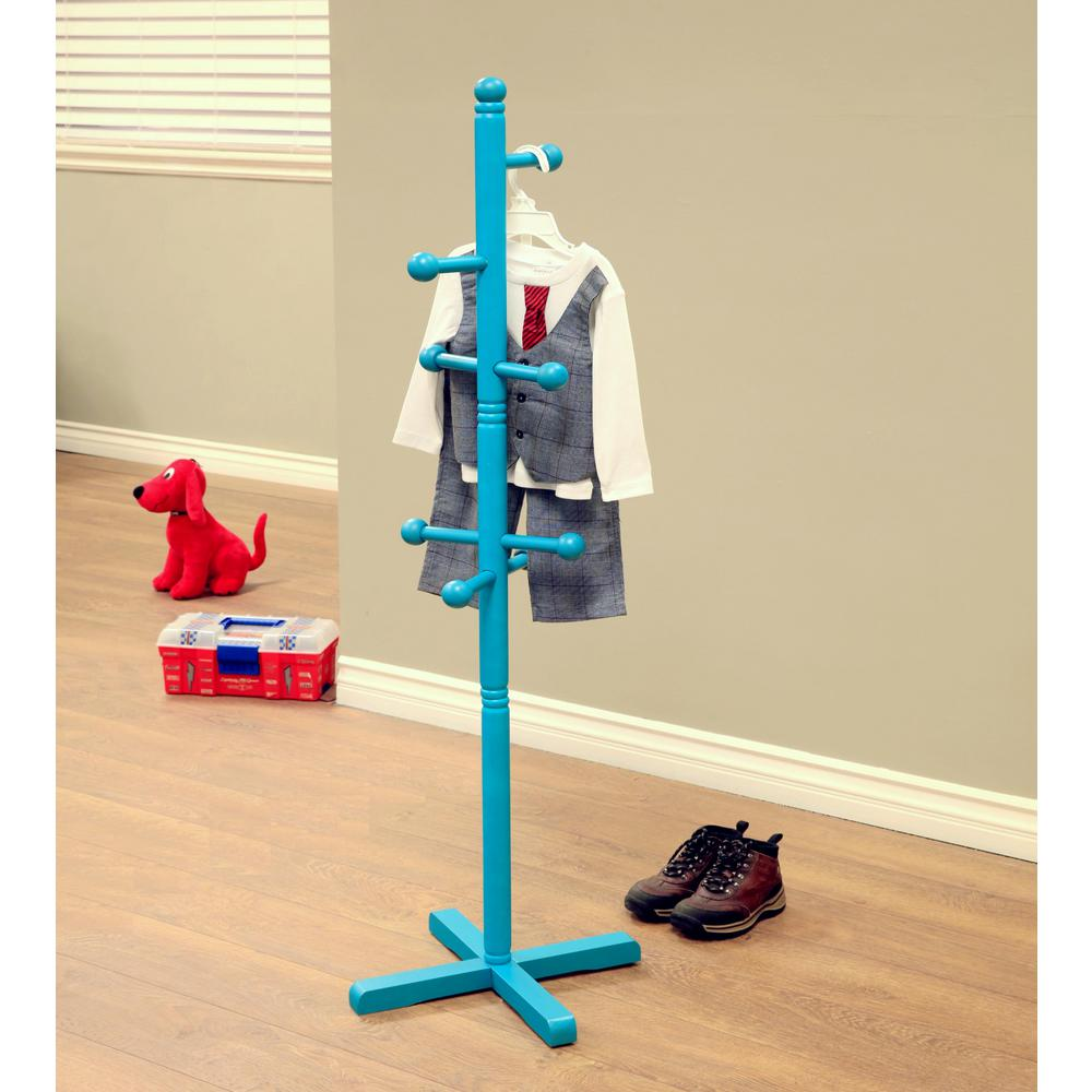 Blue Coat Rack with 8-Hooks