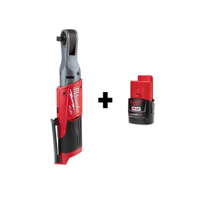 M12 FUEL 12-Volt Lithium-Ion Brushless Cordless 3/8 in. Ratchet with Free M12 2.0Ah Battery