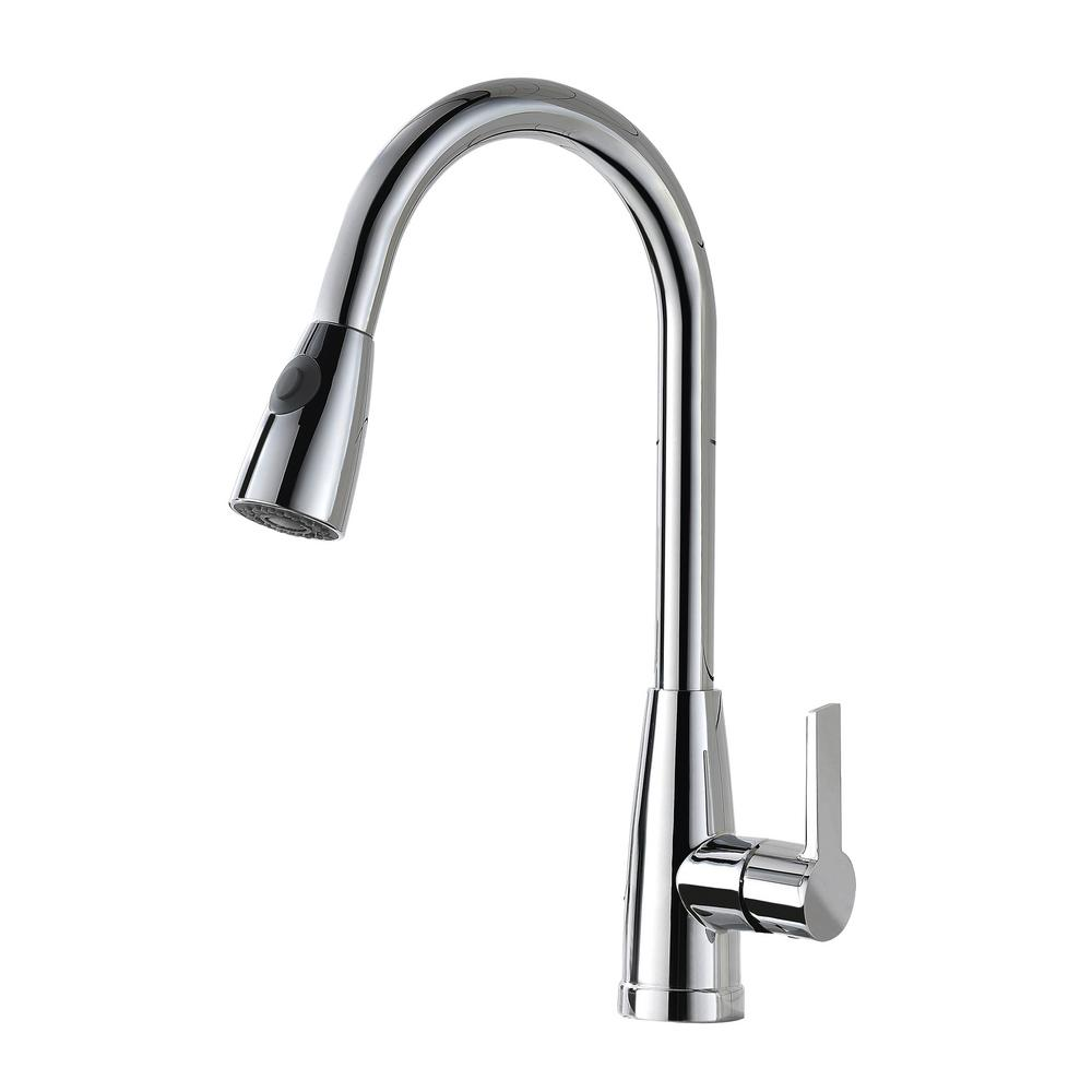 Vanity Art 8.27 in. Single-Handle Pull-Down Sprayer Kitchen Faucet in Chrome, Polished Chrome was $134.0 now $93.8 (30.0% off)